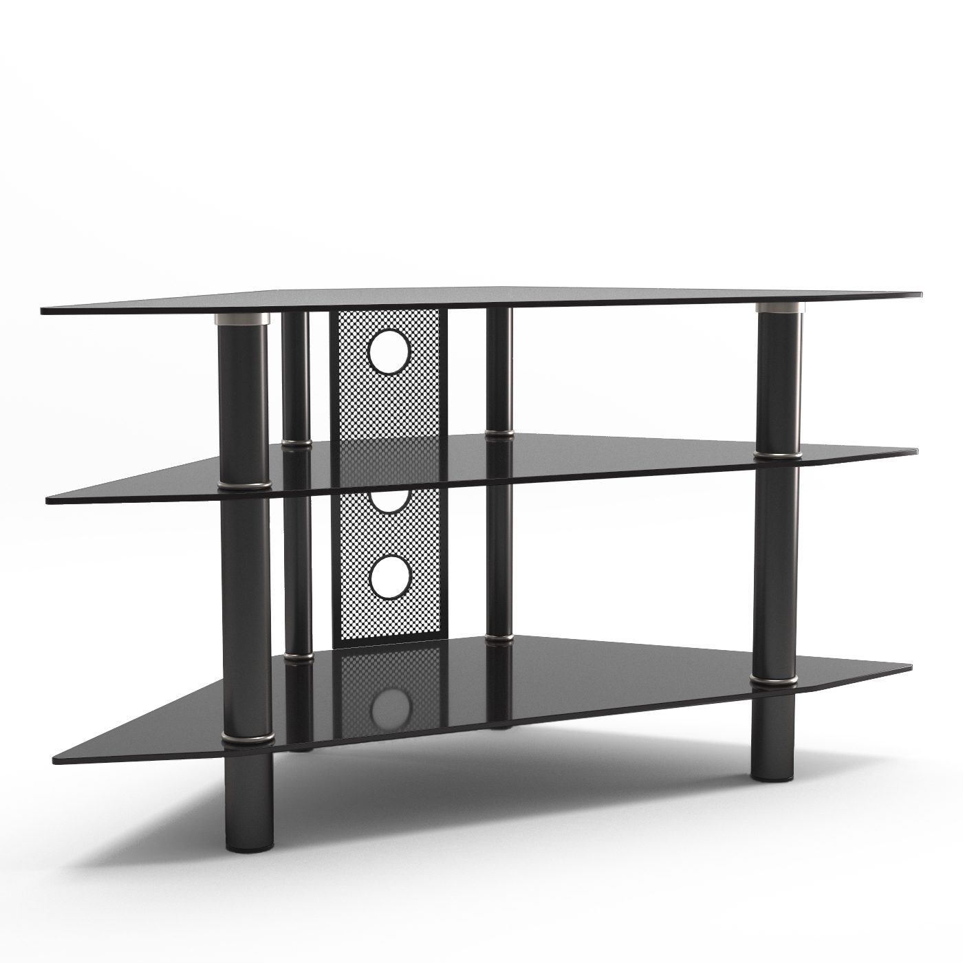 Hex Corner Tv Stands Pertaining To Most Up To Date Ruby 44 Inch Corner Glass Tv Stand In Black (View 25 of 25)