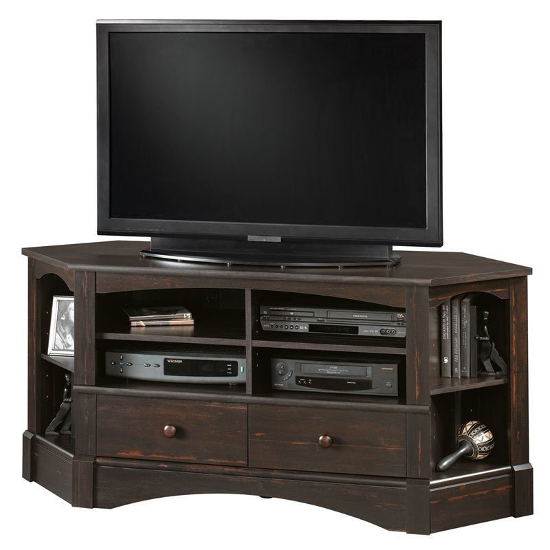 Hex Corner Tv Stands With Well Known Pemberly Row Corner Tv Stand In Antiqued Black – Pr  (View 8 of 25)