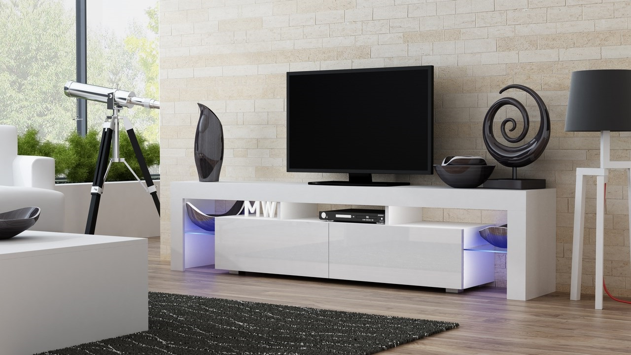 High Glass Modern Entertainment Tv Stands For Living Room Bedroom In Preferred Milano 200 White Modern Living Room Tv Stand / Tv Console (View 6 of 10)