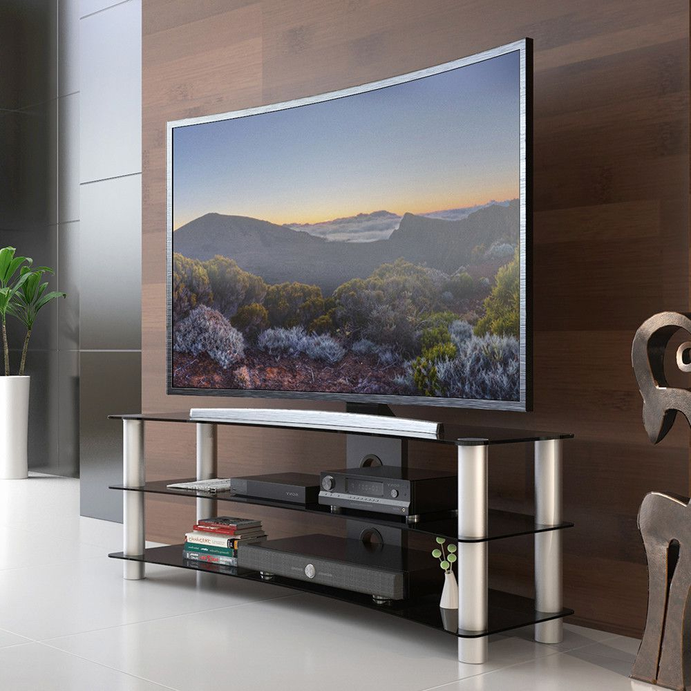 High Glass Modern Entertainment Tv Stands For Living Room Bedroom Pertaining To Recent Tv Stand Entertainment Center Media Furniture Fit Curved (View 3 of 10)