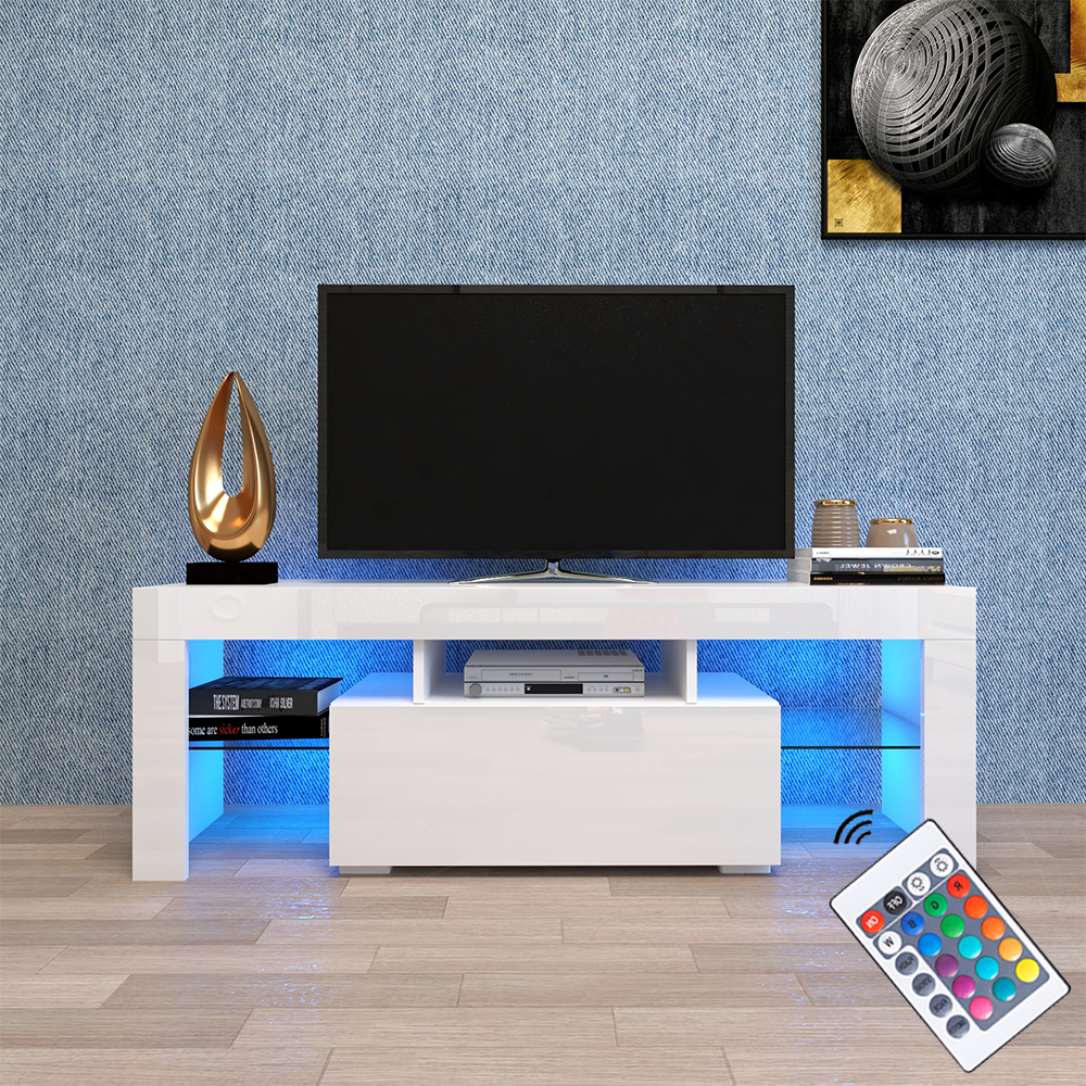 High Glass Modern Entertainment Tv Stands For Living Room Bedroom Regarding Trendy Modern White Tv Stand On Clearance With Led Lights, High (View 5 of 10)
