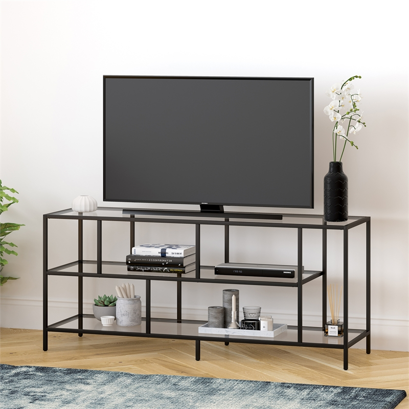 """High Glass Modern Entertainment Tv Stands For Living Room Bedroom Regarding Well Known Metal Tv Stand For Tvs Up To 55"""", Media Console Table With (View 1 of 10)"""