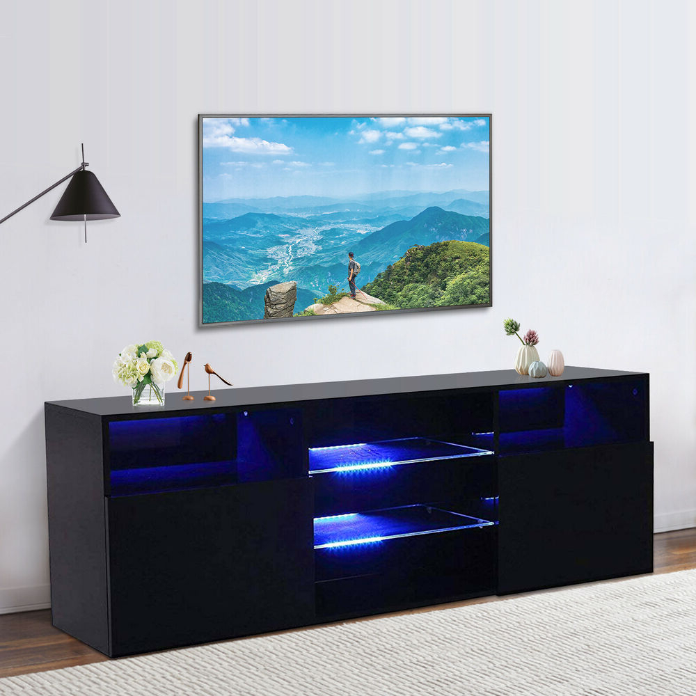 """High Gloss Black Led Tv Stand Unit 2 Doors 2 Shelves Regarding Widely Used 47"""" Tv Stands High Gloss Tv Cabinet With 2 Drawers (View 8 of 10)"""