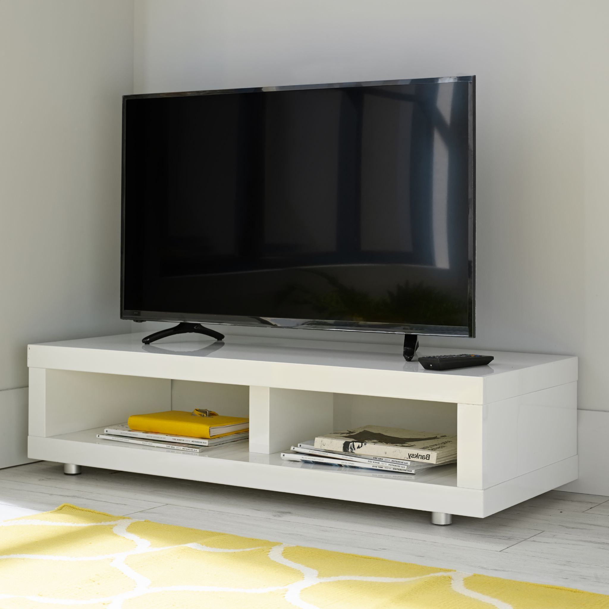 High Gloss Contemporary White Tv Television Stand Unit Cabinet With Most Popular Tv Stands (View 14 of 16)