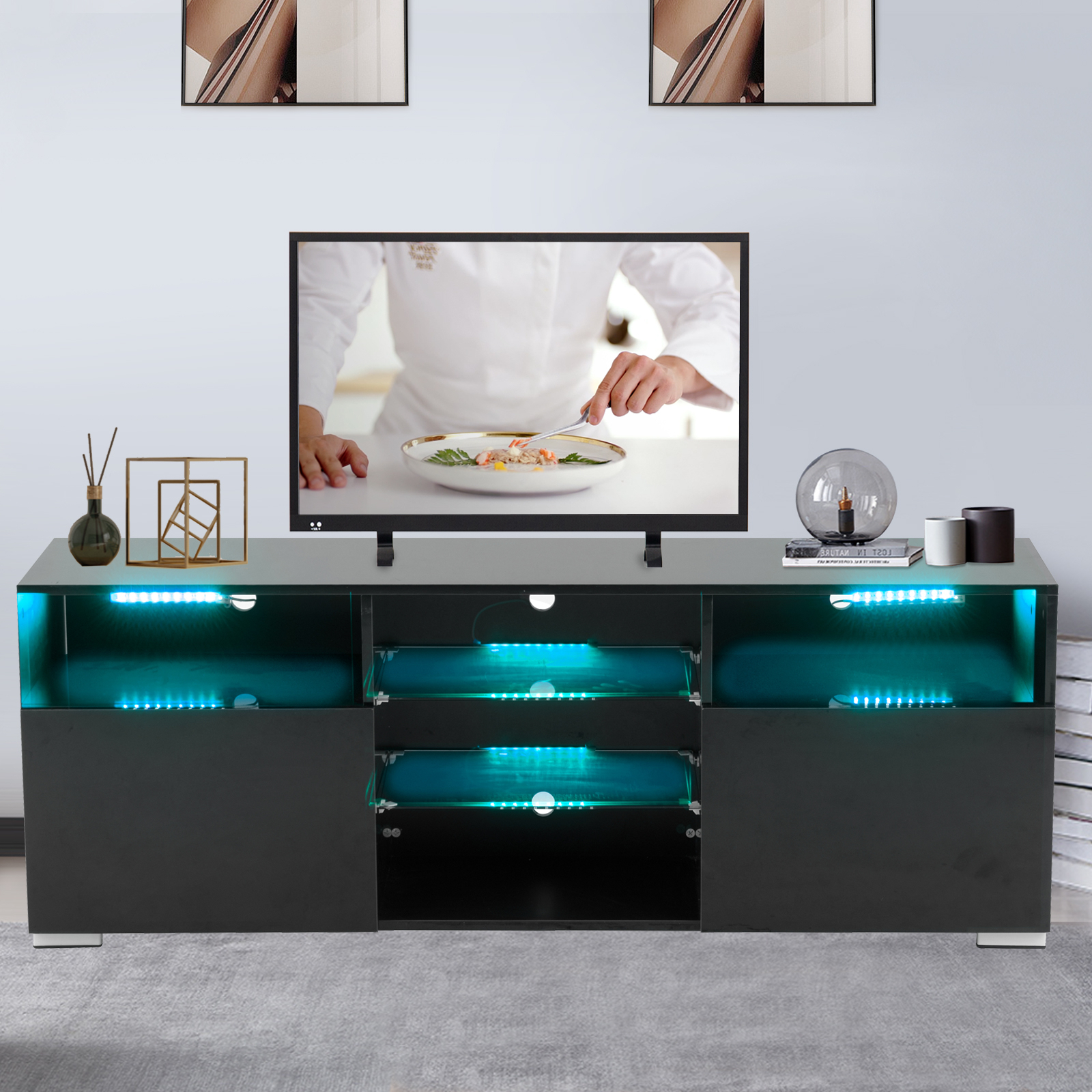 High Gloss Tv Stand With Led Lights, White Tv Stand For 58 With Regard To Recent Horizontal Or Vertical Storage Shelf Tv Stands (View 2 of 10)