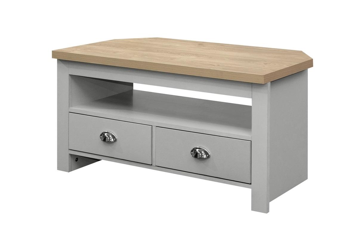 Highgate Corner Tv Unit Grey & Oak Effect – Birlea Furniture With Regard To Latest Fulton Oak Effect Corner Tv Stands (View 3 of 25)