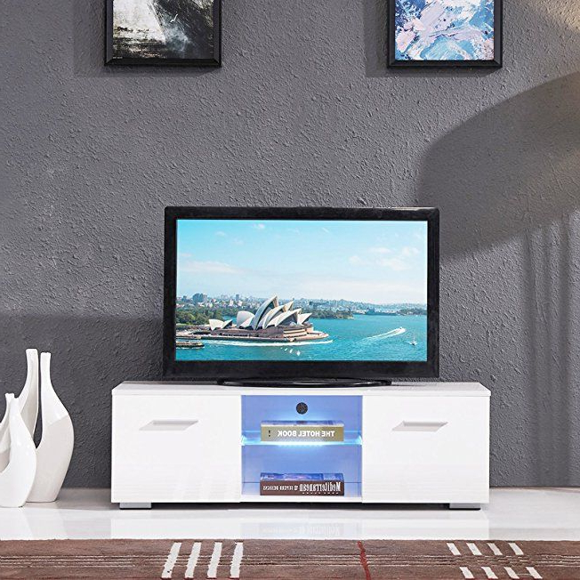 Holi Us High Gloss Tv Stand Unit Cabinet W/led Shelves 2 For Preferred Hannu Tv Media Unit White Stands (View 10 of 10)