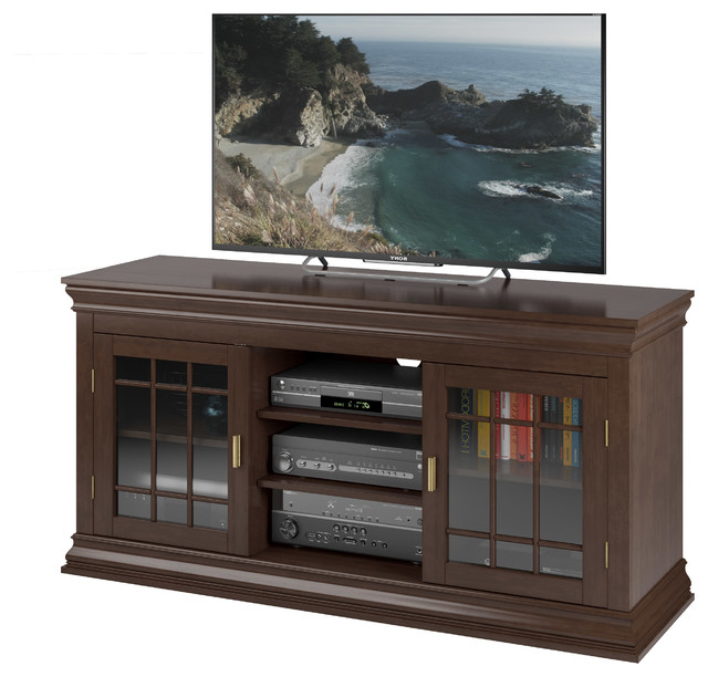 """Holland 20"""" Wide Ravenwood Black And Glass Component Stand With Best And Newest Bromley Black Wide Tv Stands (View 1 of 10)"""