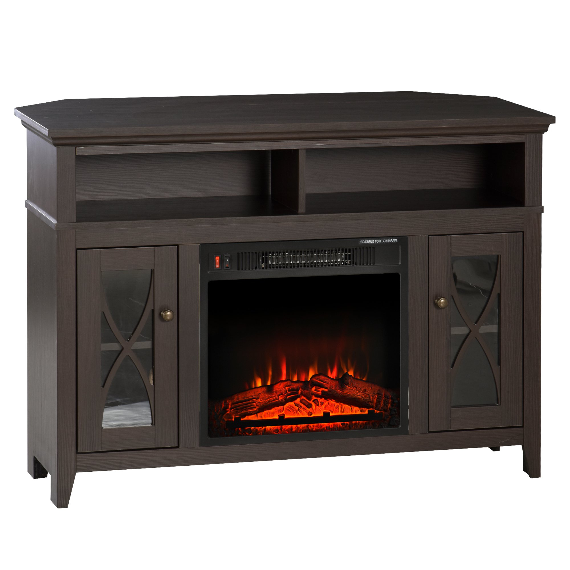 Homcom 2 In 1 Tv Stand And Electric Fireplace With 2 Cable With Regard To Well Known Electric Fireplace Tv Stands With Shelf (View 4 of 10)