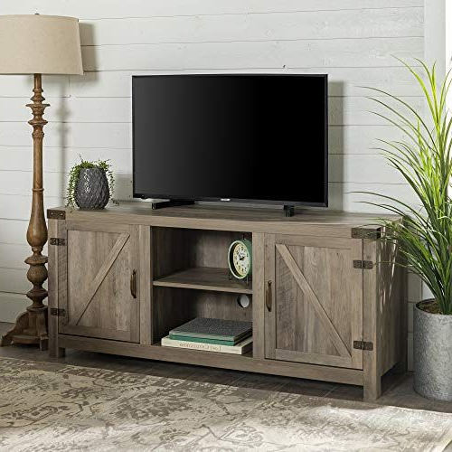 """Include Our Rustic Barn Door Style Tv Stand In Your Home Within Favorite Jaxpety 58"""" Farmhouse Sliding Barn Door Tv Stands In Rustic Gray (View 2 of 10)"""