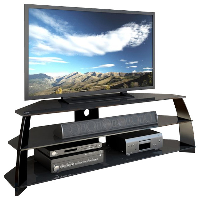 Indi Wide Tv Stands With Regard To Most Current Corliving Taylor Extra Wide Glossy Black Tv Stand With (View 18 of 25)