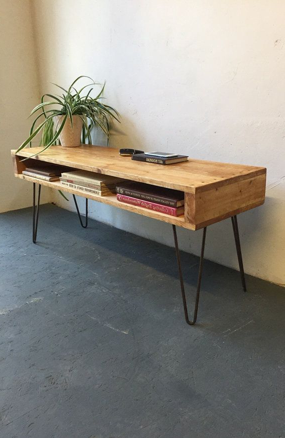 Industrial Tv Stands With Metal Legs Rustic Brown For 2017 Rustic Industrial Vintage Side Table/ Coffee Table/ Tv (View 7 of 10)