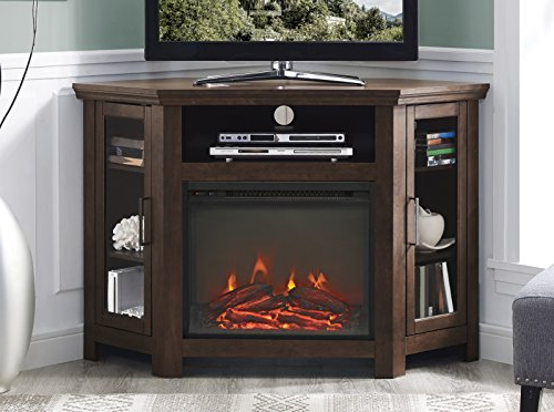 """Jackson Corner Tv Stands For 2017 Amazon: We Furniture 48"""" Wood Corner Fireplace Media (View 7 of 25)"""