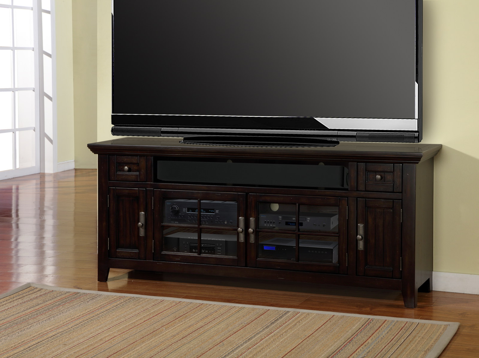 """Jackson Corner Tv Stands For Well Known Parker House Tahoe 72"""" Tv Console In Vintage Black Tah# (View 10 of 25)"""