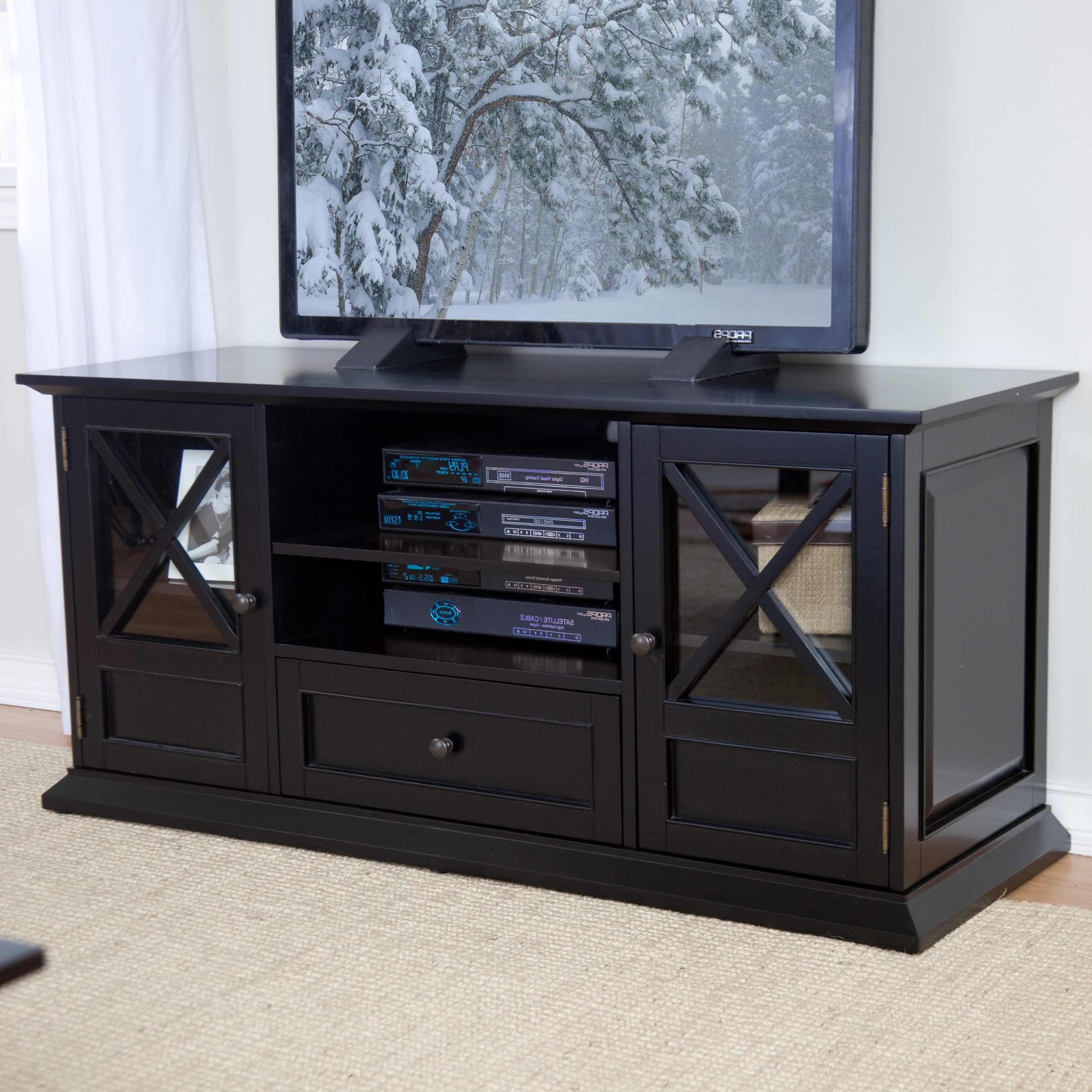 Jackson Wide Tv Stands With Popular Belham Living Hampton 55 Inch Tv Stand – Black At Hayneedle (View 6 of 10)