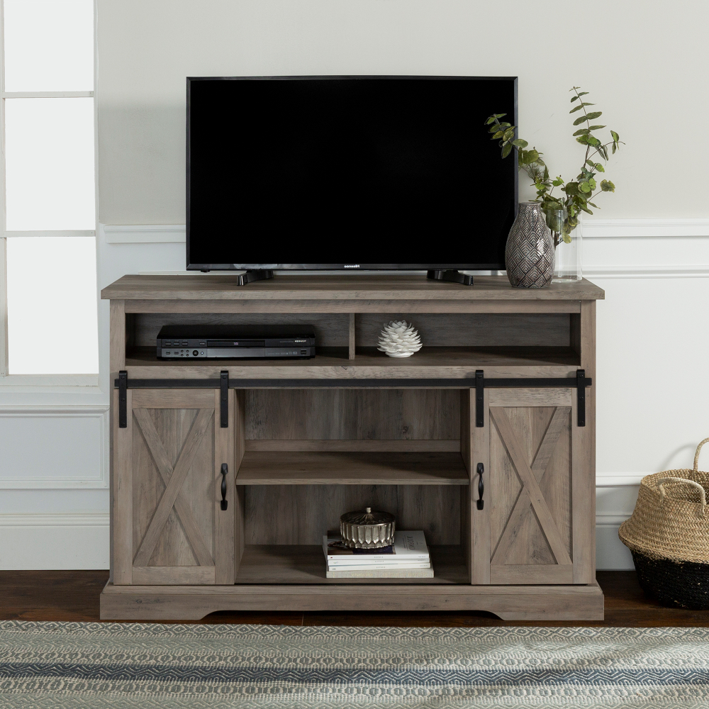 """Jaxpety 58"""" Farmhouse Sliding Barn Door Tv Stands For Most Popular Manor Park Farmhouse Barn Door Tv Stand For Tvs Up To  (View 6 of 10)"""