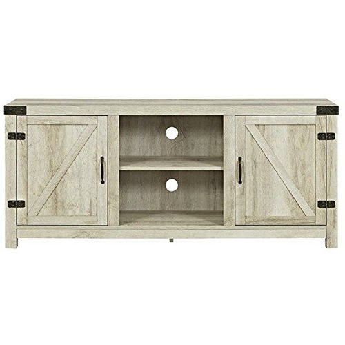 """Jaxpety 58"""" Farmhouse Sliding Barn Door Tv Stands In Rustic Gray With Regard To Well Known Barn Door Tv Stand In White Oak Walker Edison Furniture C (View 8 of 10)"""