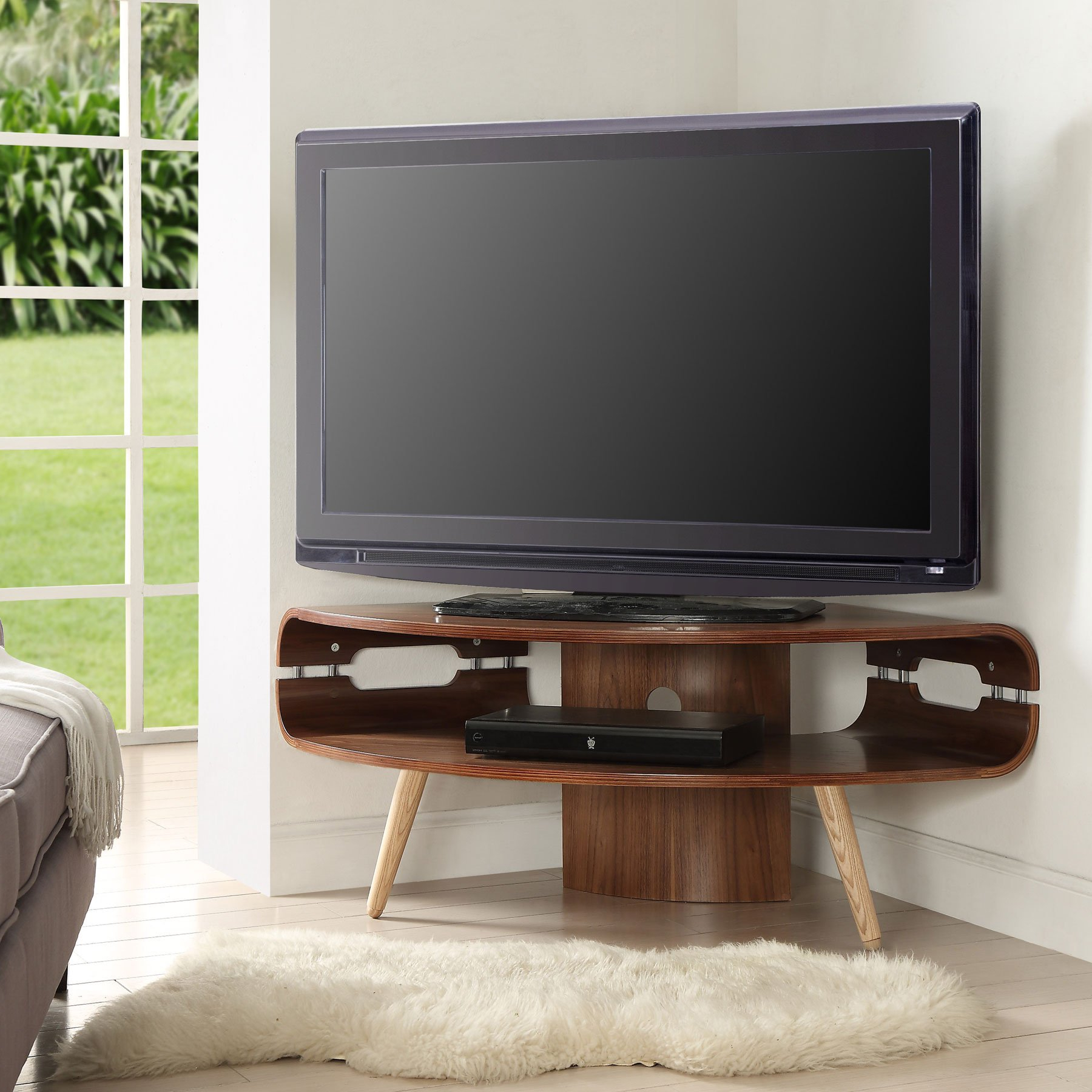 """Jual Jf701 Walnut Corner Tv Stand For Up To 50"""" Tvs Within Most Recent Leonid Tv Stands For Tvs Up To 50"""" (View 13 of 25)"""