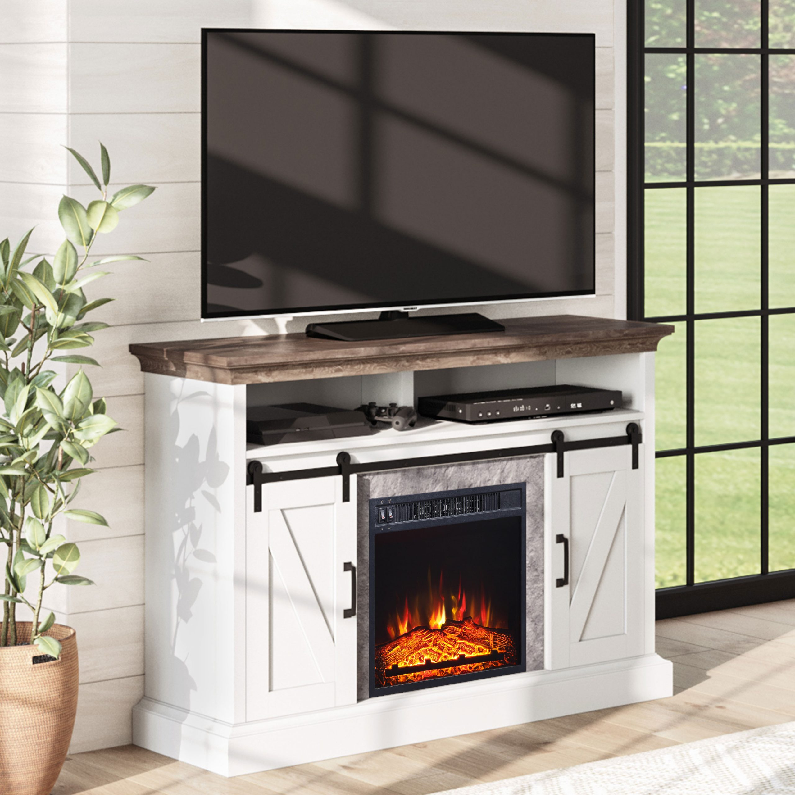 """Kamari Tv Stands For Tvs Up To 58"""" Regarding 2017 Whalen Allston Barn Door Fireplace Tv Stand For Tvs Up To (View 17 of 25)"""