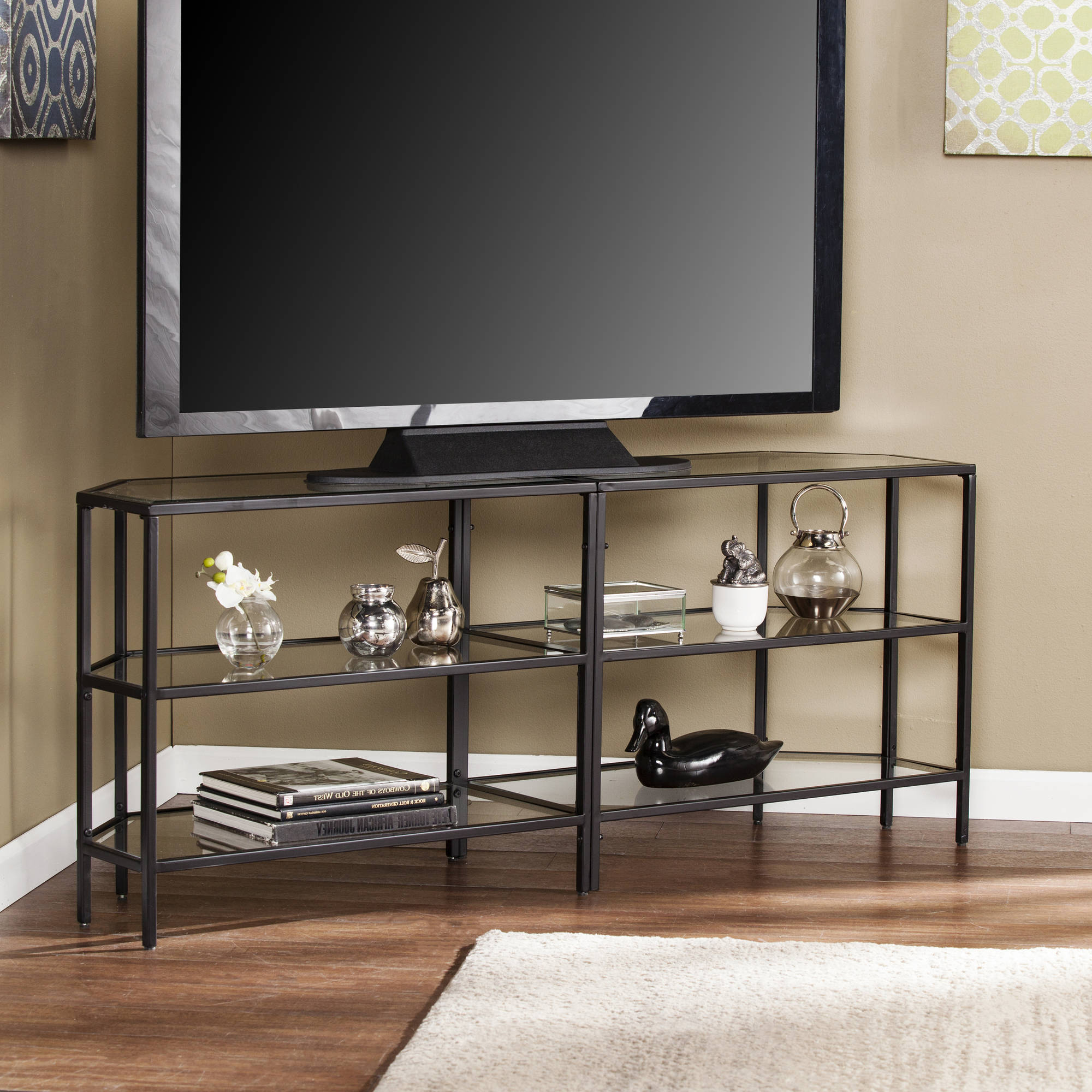 """Kamari Tv Stands For Tvs Up To 58"""" With Regard To Latest Matte Black Danae Metal/glass Corner Optional Tv Stand For (View 20 of 25)"""