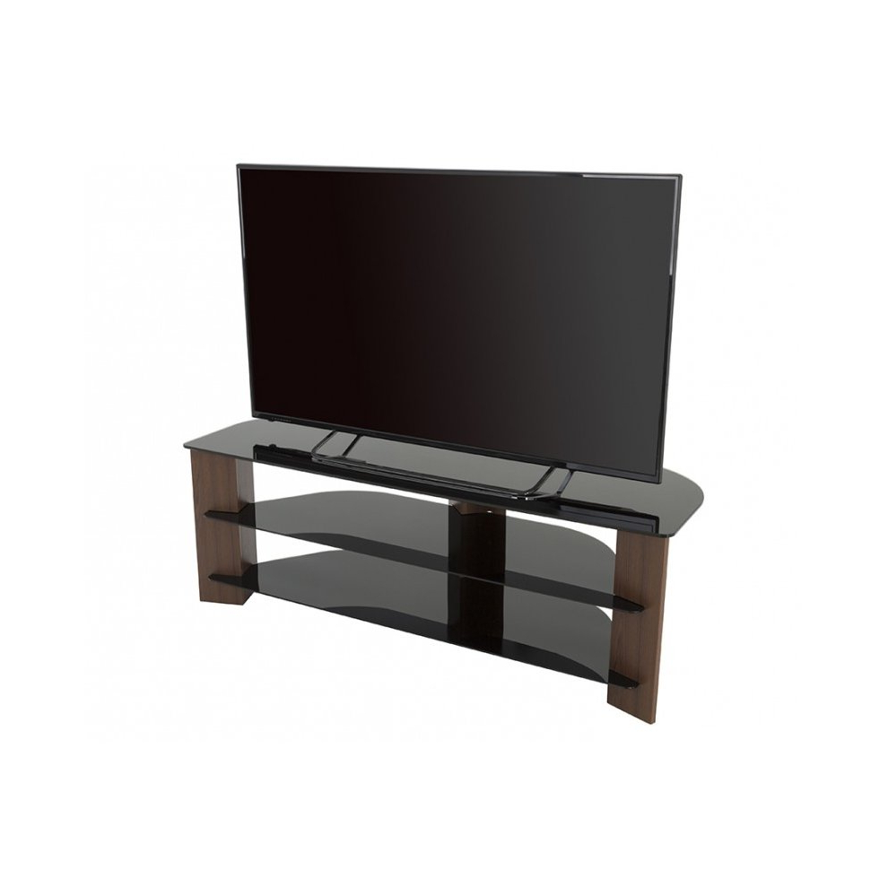King Tv Stand Wood Effect With Black Glass Shelves Lcd For 2018 Claudia Brass Effect Wide Tv Stands (View 9 of 10)