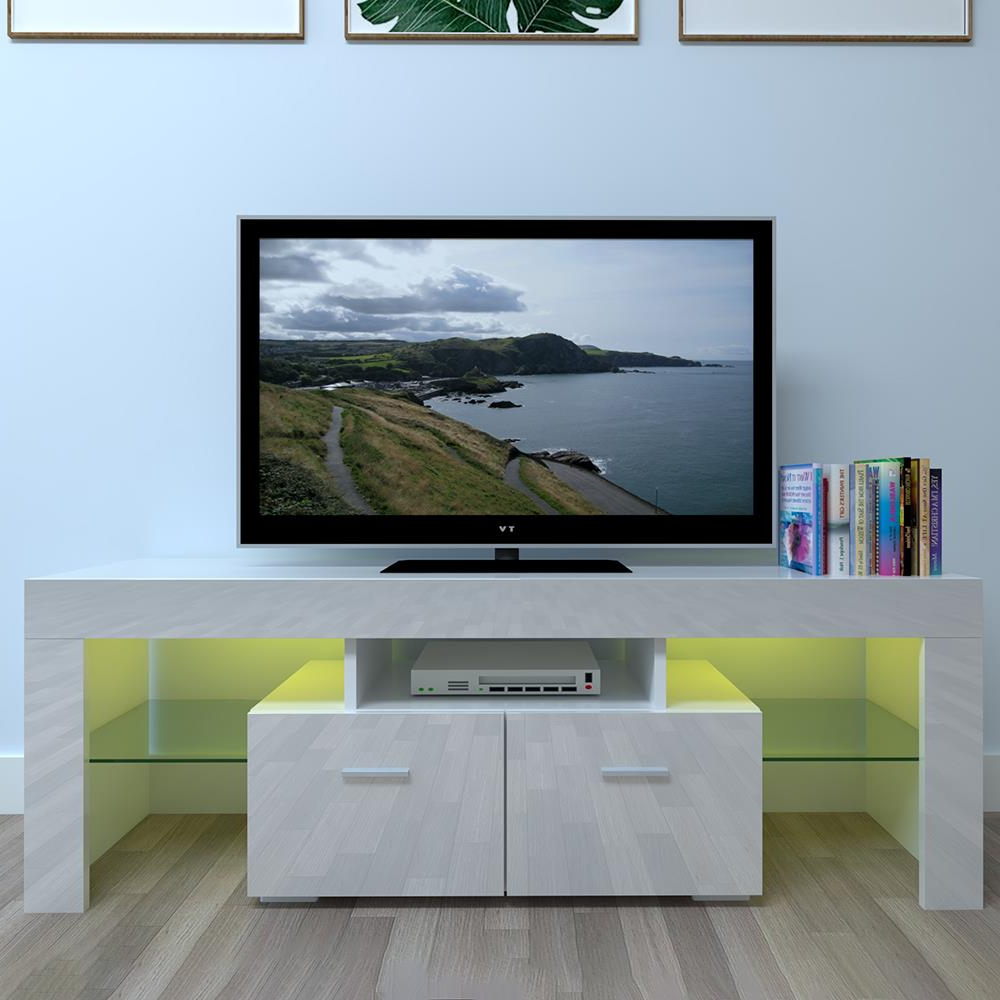 Ktaxon High Gloss Tv Stand Unit Cabinet Led Light Shelves In 2018 Milano White Tv Stands With Led Lights (View 2 of 25)