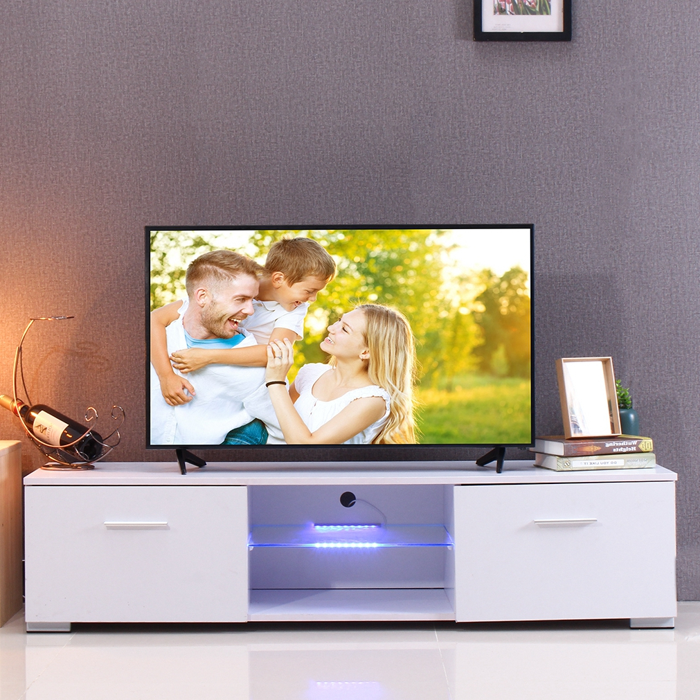 Ktaxon Modern High Gloss Tv Stands With Led Drawer And Shelves Regarding Most Recently Released Modern Tv Stand For Tvs Up To 55'', High Gloss Tv Cabinet (View 9 of 10)