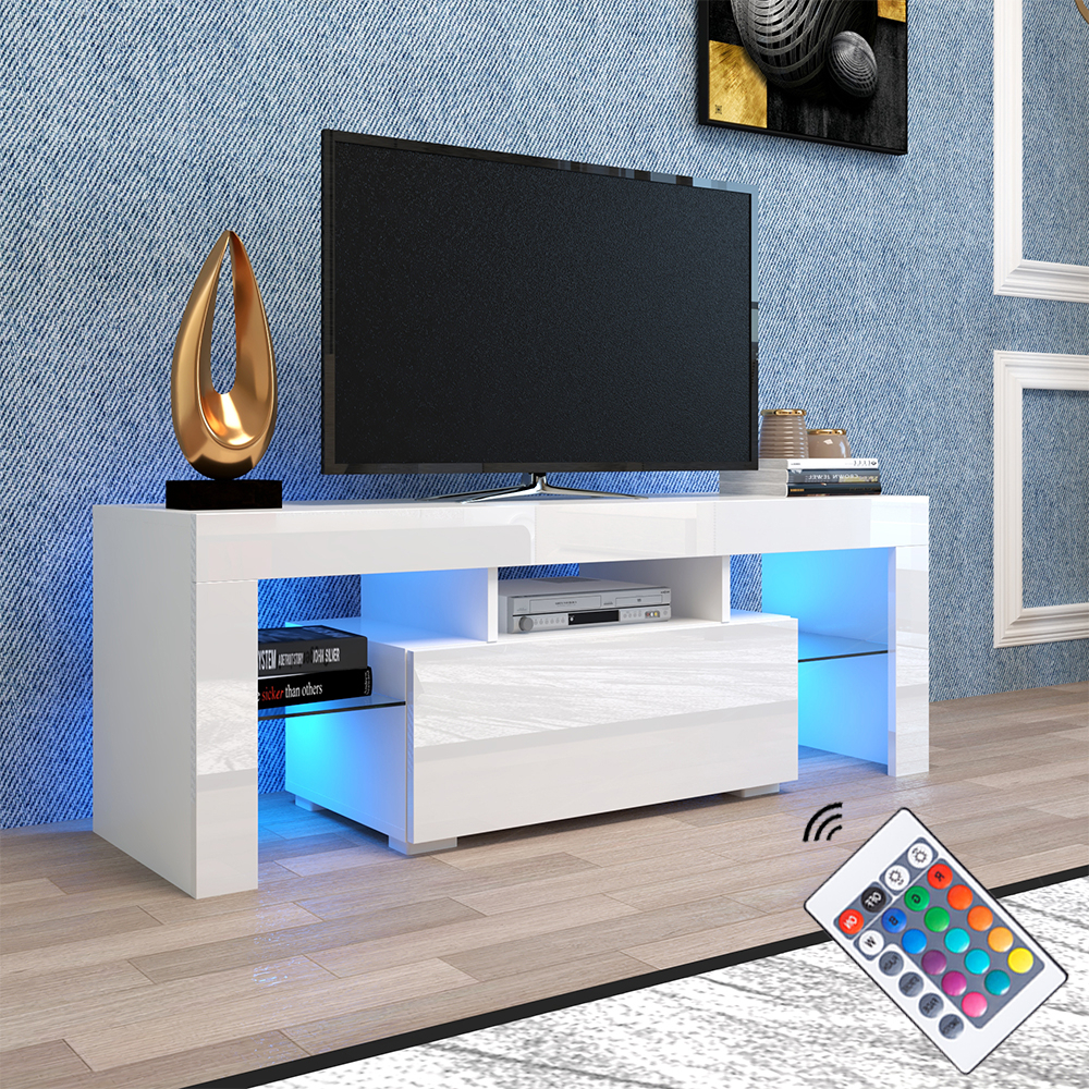 Ktaxon Modern High Gloss Tv Stands With Led Drawer And Shelves Throughout Well Liked Tv Console Cabinet, Segmart Modern White Tv Stand With  (View 2 of 10)