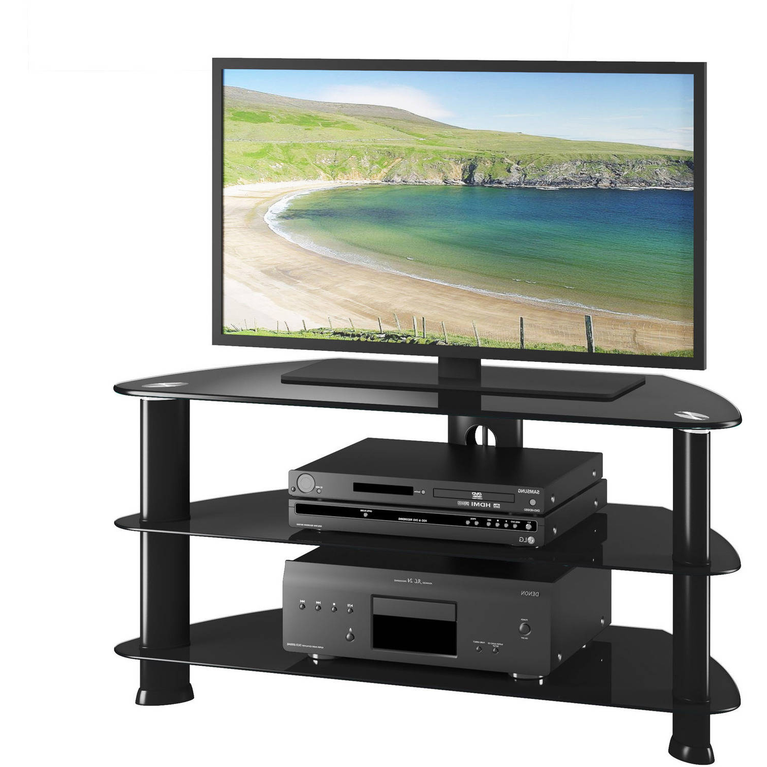 """Laguna Satin Black Corner Tv Stand For Tvs Up To 50 For Trendy Tv Stands For Tvs Up To 50"""" (View 13 of 25)"""