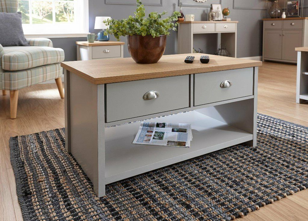Lancaster Grey/oak Large Tv Stand And Coffee Table – New Inside Popular Lancaster Corner Tv Stands (View 7 of 10)