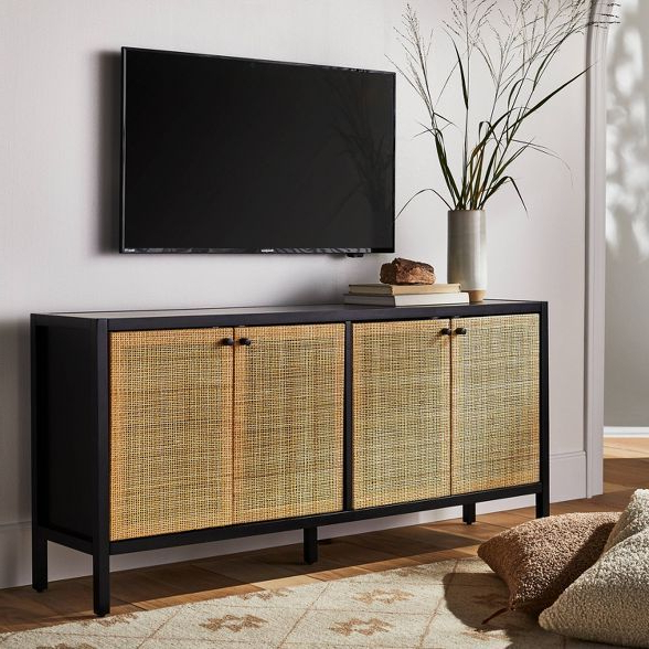 """Lansing Tv Stands For Tvs Up To 50"""" Regarding Popular Springville Caned Door Tv Stand For Tv's Up To 60"""" Black (View 19 of 25)"""