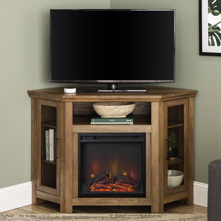 """Lansing Tv Stands For Tvs Up To 55"""" Inside Recent Walker Edison Grey Corner Fireplace Tv Stand For Tvs Up To (View 5 of 25)"""