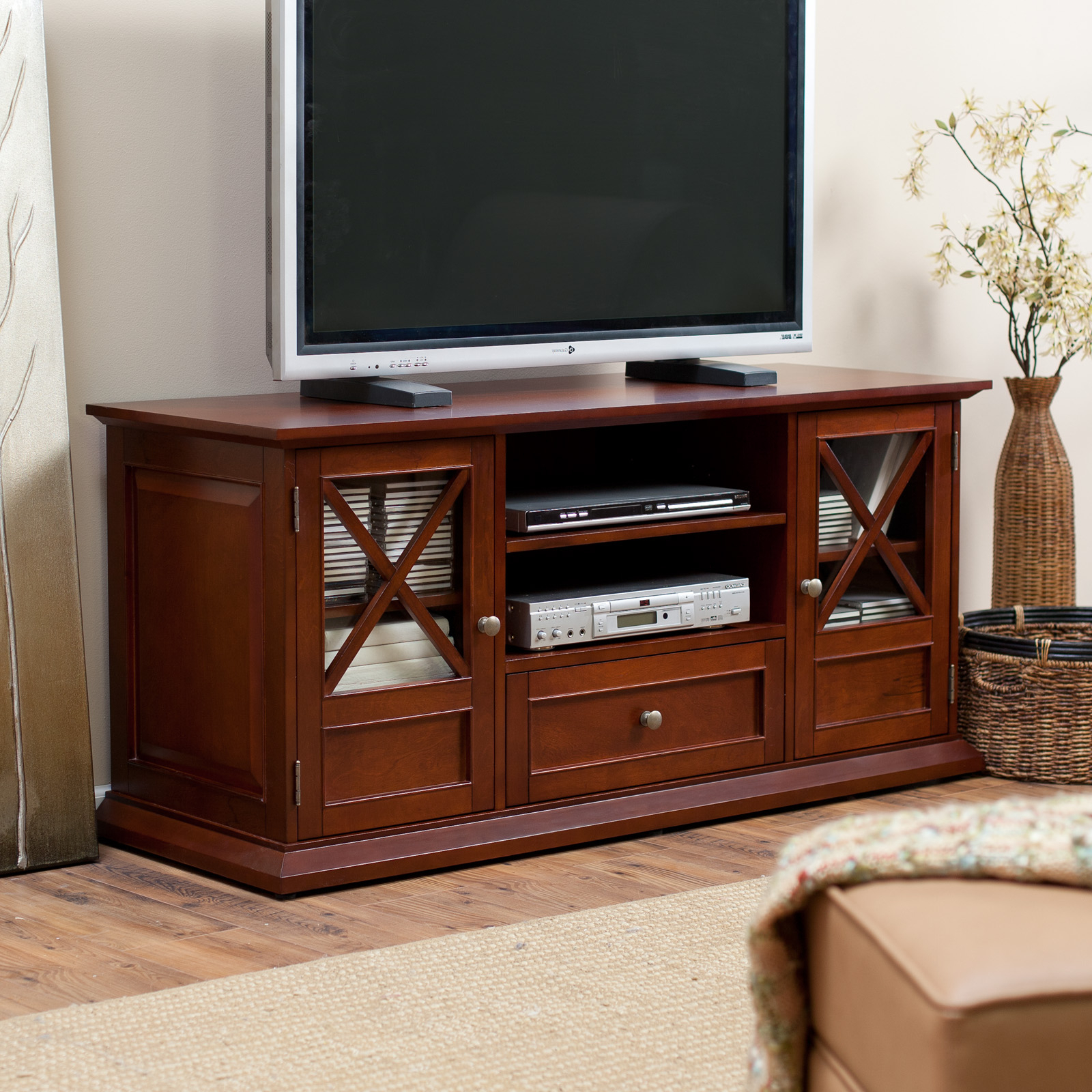 """Lansing Tv Stands For Tvs Up To 55"""" With Most Popular Belham Living Hampton 55 Inch Tv Stand – Cherry At Hayneedle (View 24 of 25)"""
