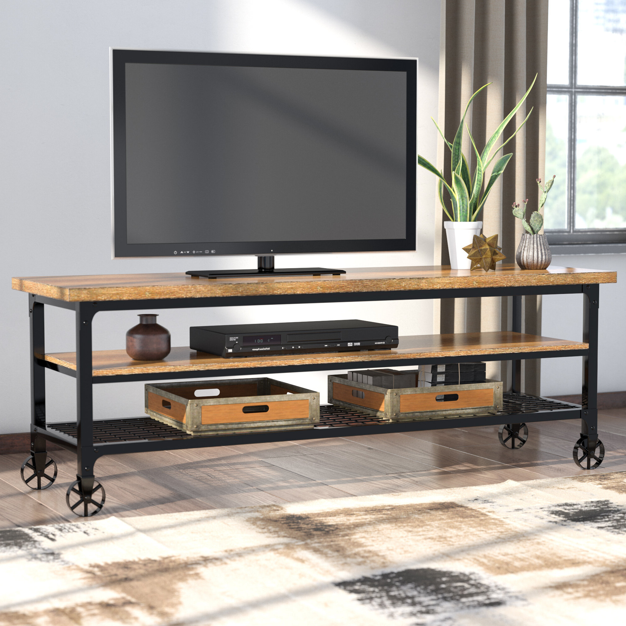 """Lansing Tv Stands For Tvs Up To 55"""" With Regard To Fashionable Tucker 70 Inch Television Stand In White Wash Finish Tv (View 10 of 25)"""