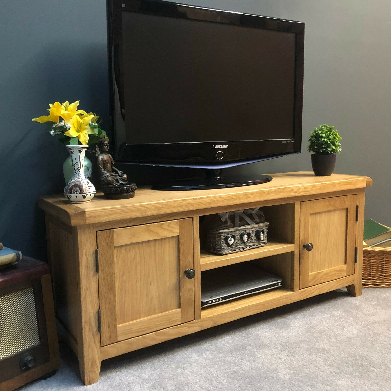 Large Oak Tv Stand Wide Solid Wood Television Unit With Inside Preferred Orsen Wide Tv Stands (View 1 of 25)