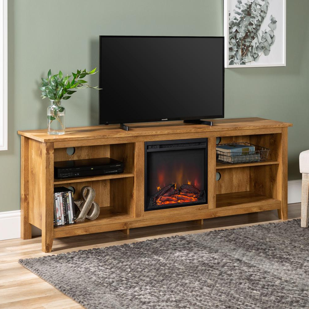 Large Tv Stand Electric Fireplace Media Console Farmhouse With Regard To Best And Newest Electric Fireplace Tv Stands With Shelf (View 8 of 10)