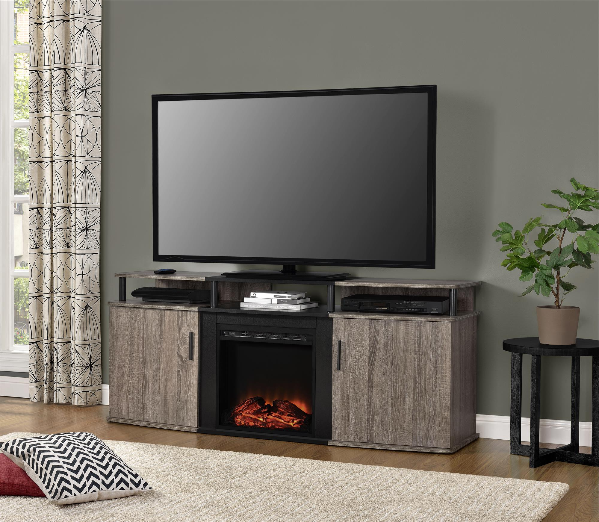 """Latest Ameriwood Home Carson Electric Fireplace Tv Console For In Chicago Tv Stands For Tvs Up To 70"""" With Fireplace Included (View 24 of 25)"""