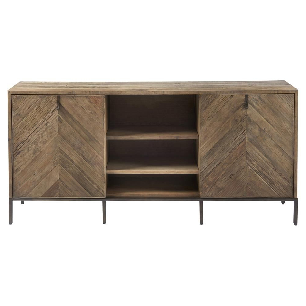 Latest Ashley Rustic Lodge Brown Herringbone Pattern Wood Media Inside Media Console Cabinet Tv Stands With Hidden Storage Herringbone Pattern Wood Metal (View 4 of 10)
