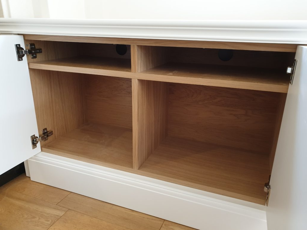 Latest Bespoke Alcove Tv Cabinet In A Spray Painted Finish With With Regard To Greenwich Corner Tv Stands (View 4 of 10)