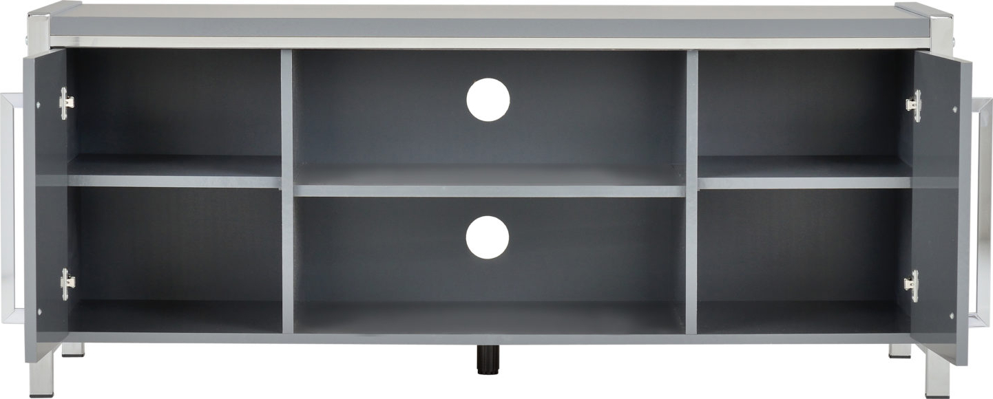 Latest Charisma Tv Stands With Regard To Charisma 2 Door Tv Unit – Grey Gloss/chrome (View 5 of 10)