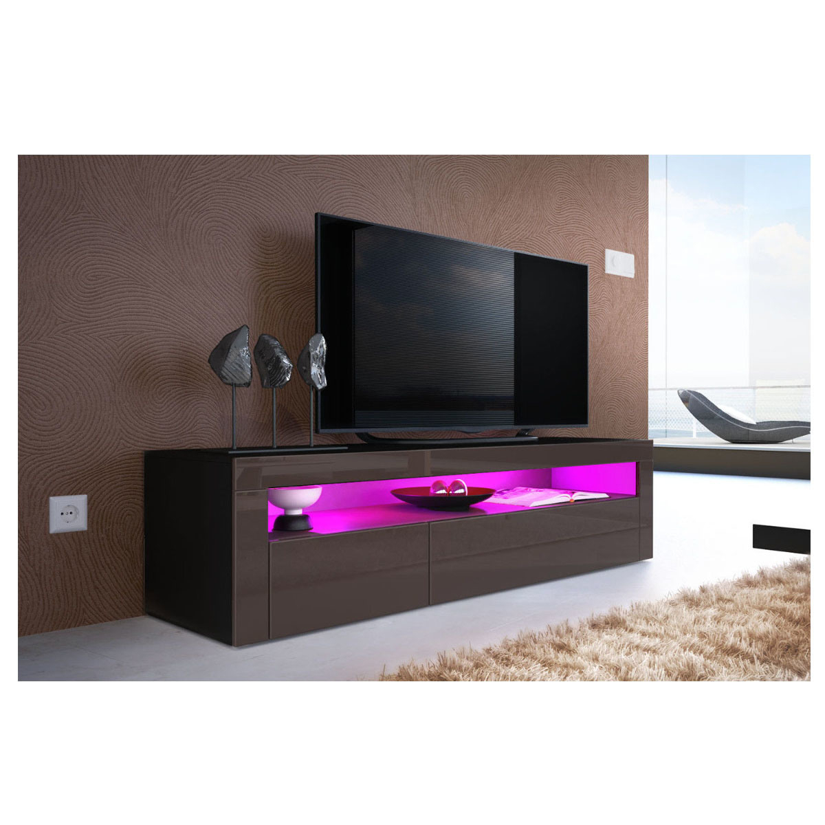 Latest China High Gloss Uv Black Led Light Sideboard Tv Unit For Dillon Black Tv Unit Stands (View 2 of 10)