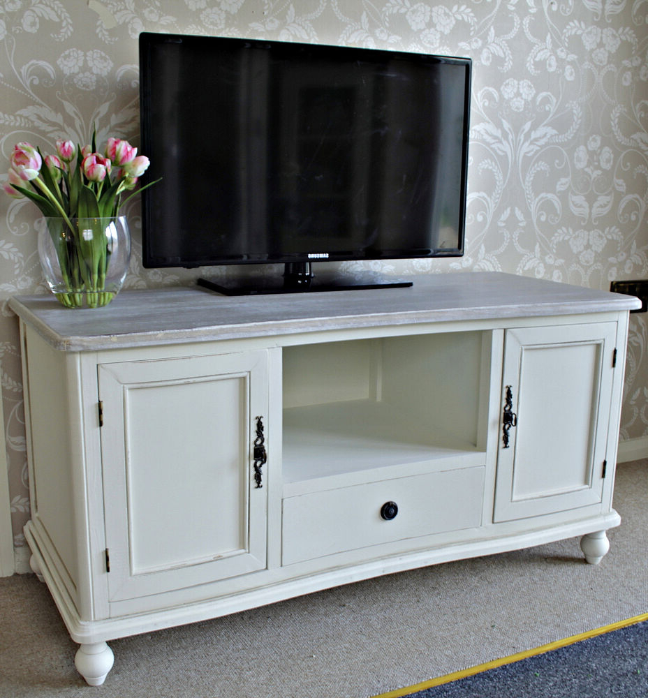 Latest Cream Cottage Wooden Tv Unit Stand Solid Cupboard Within Carbon Tv Unit Stands (View 10 of 10)