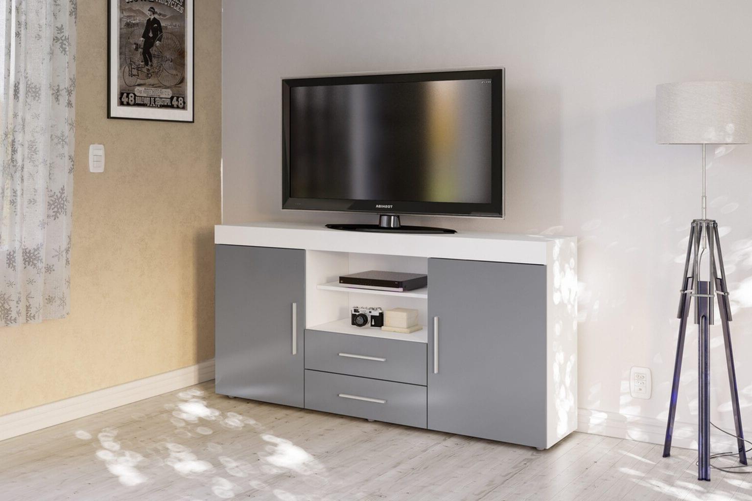 Latest Edgeware 2 Door 2 Drawer Sideboard White & Grey – Niture Uk For Edgeware Tv Stands (View 7 of 25)