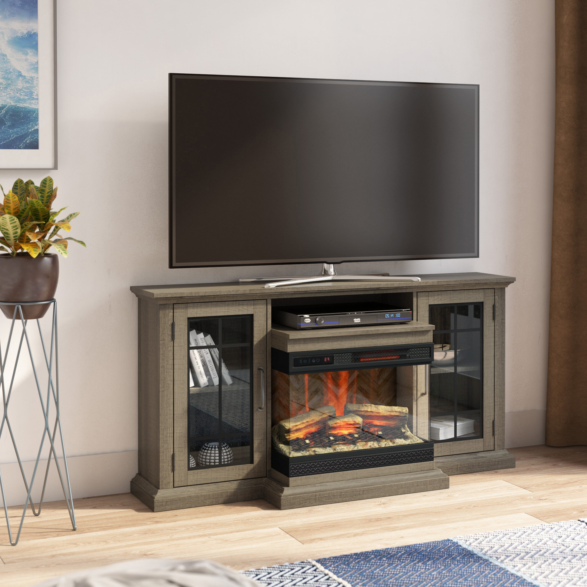 """Latest Electric Fireplace Tv Stand 65 Inch — Shermanscreek Throughout Lorraine Tv Stands For Tvs Up To 60"""" With Fireplace Included (View 15 of 25)"""
