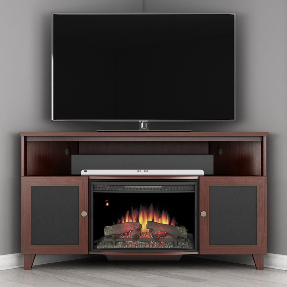 Latest Electric Fireplace Tv Stands With Shelf With Regard To Furnitech Ft61sccfb Shaker Corner Tv Stand Console With (View 1 of 10)