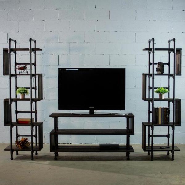 Latest Furniture Pipeline Tucson Modern Industrial, Black Tv Regarding Modern Black Tv Stands On Wheels (View 7 of 10)