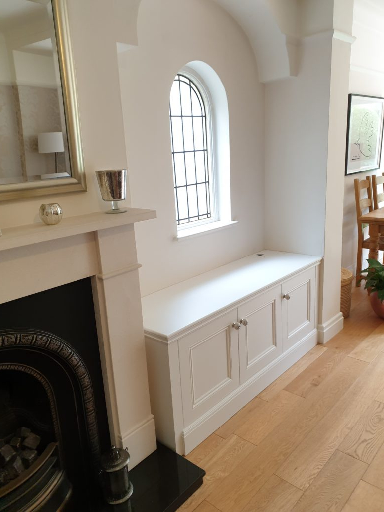 Latest Greenwich Corner Tv Stands Inside Bespoke Alcove Tv Cabinet In A Spray Painted Finish With (View 9 of 10)