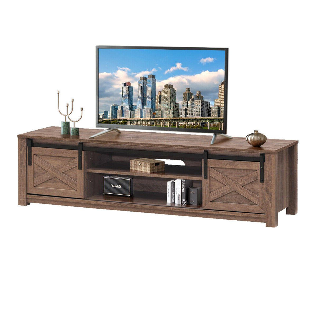 """Latest Gymax Sliding Barn Door Tv Stand For Tv's Up To 65 Throughout Wolla Tv Stands For Tvs Up To 65"""" (View 7 of 25)"""