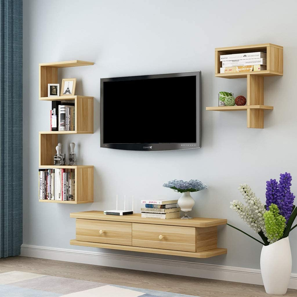 Latest Horizontal Or Vertical Storage Shelf Tv Stands Pertaining To Color : Beige Wall Mounted Tv Cabinet Wall Shelf Floating (View 10 of 10)