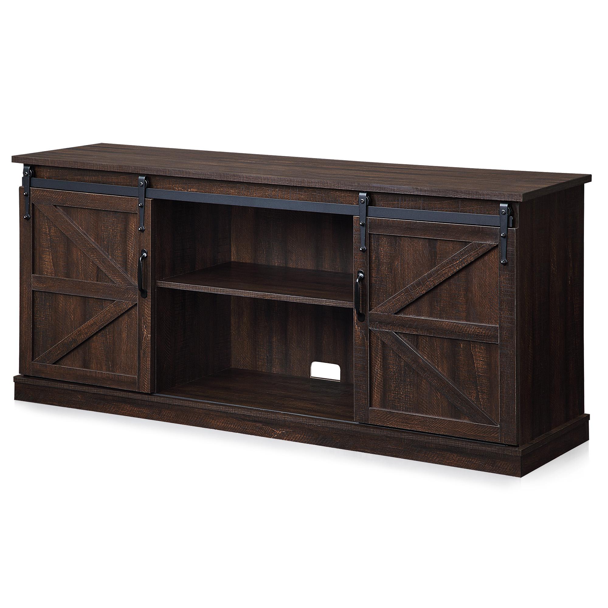 "Latest Jaxpety 58"" Farmhouse Sliding Barn Door Tv Stands With Espresso 58""tv Stand W/sliding Barn Door Console Table (View 8 of 10)"